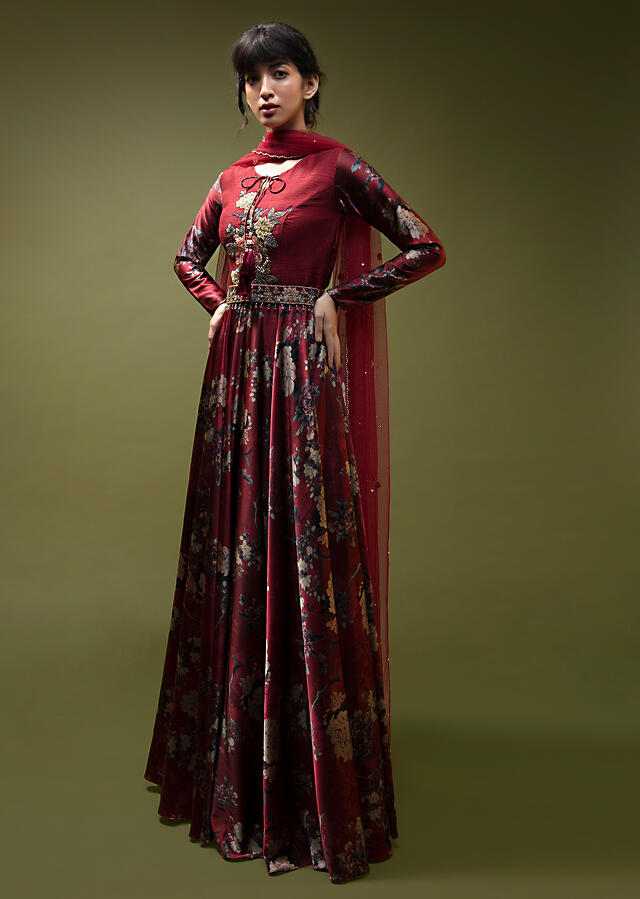 Burgundy Red Anarkali Suit In Satin With Floral Print And Embroidered Floral Motif With Resham And Sequins Work Online - Kalki Fashion
