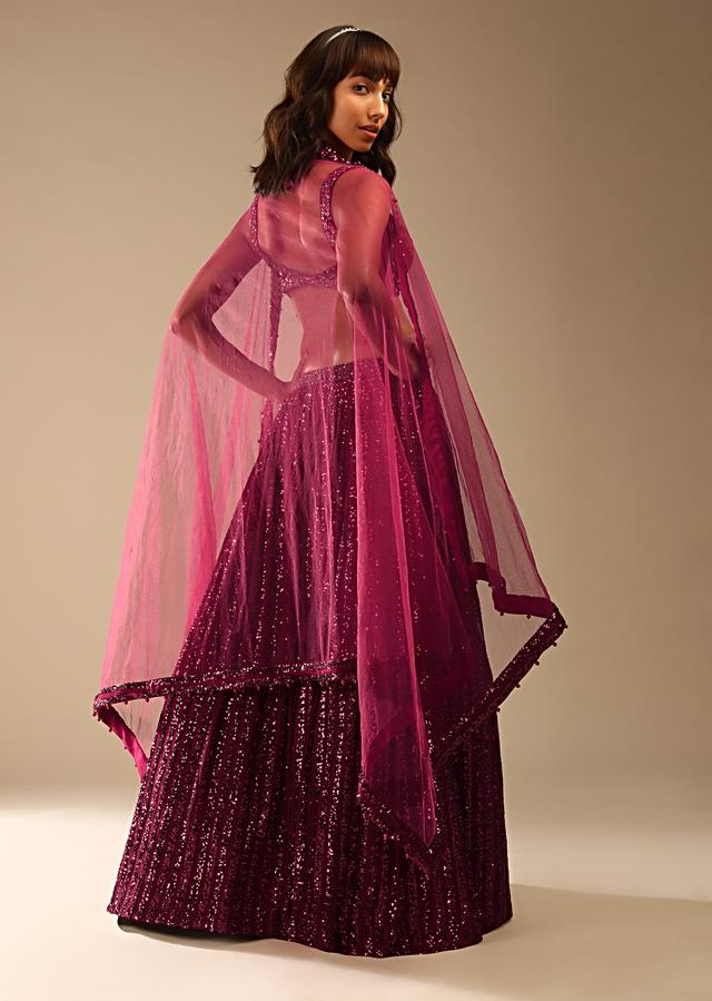 Burgundy Red Lehenga In Striped Sequins Fabric With A Velvet Choli Adorned In Flower Shaped Sequins Online - Kalki Fashion