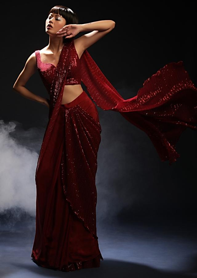 Burgundy Red Ready Pleated Saree In Crepe With Sequins Embellished Pallu, Frill On The Hemline And Ready Blouse Online - Kalki Fashion