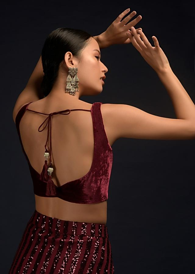 Burgundy Red Ready Pleated Saree In Net With Sequin Embellished Stripes And Matching Velvet Crop Top Online - Kalki Fashion
