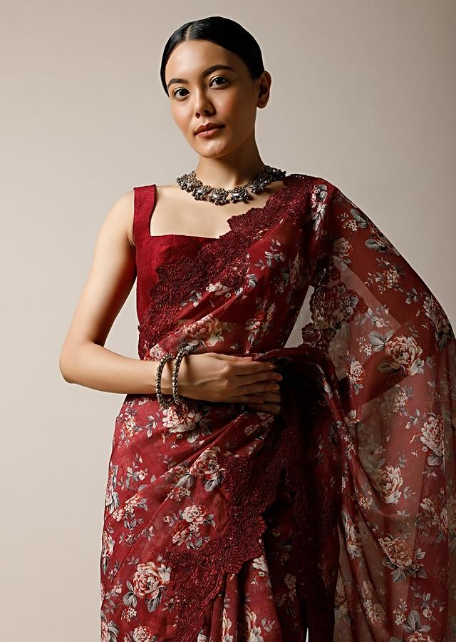 Burgundy Red Saree In Organza With Floral Print And Scalloped Lace Border Along With Unstitched Blouse Online - Kalki Fashion