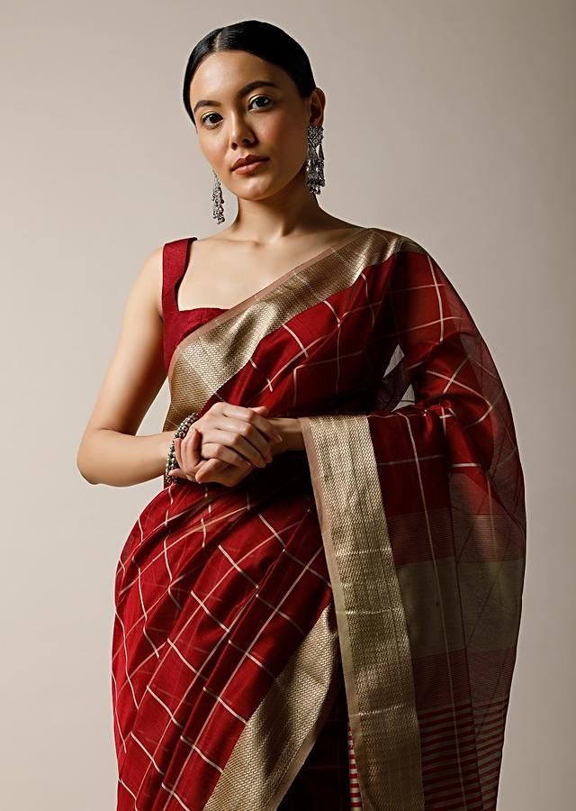 Burgundy Red Saree In Cotton Silk With Woven Checks And Golden Border Along With Unstitched Blouse Online - Kalki Fashion