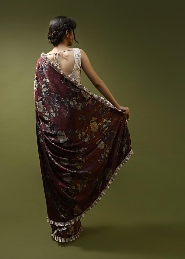 Burgundy Red Saree In Satin With Floral Print And Contrasting Peach Sequins Ruffle On The Border And Blouse Online - Kalki Fashion