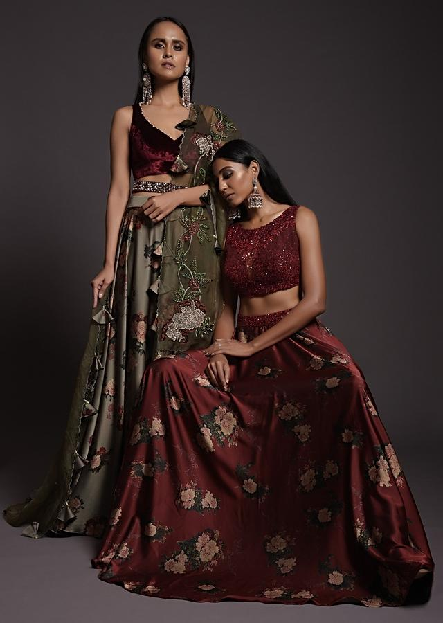 Burgundy Skirt In Satin With Floral Print And Sequins Embellished Crop Top With Illusion Neckline Online - Kalki Fashion