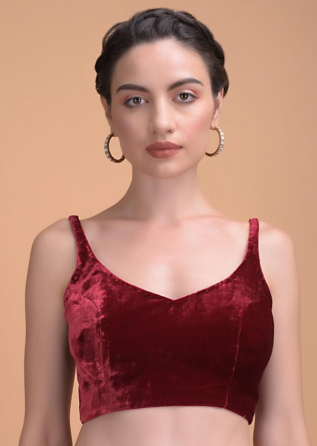 Burgundy Sleeveless Blouse In Velvet With Leaf Cut Neckline And Back Online - Kalki Fashion