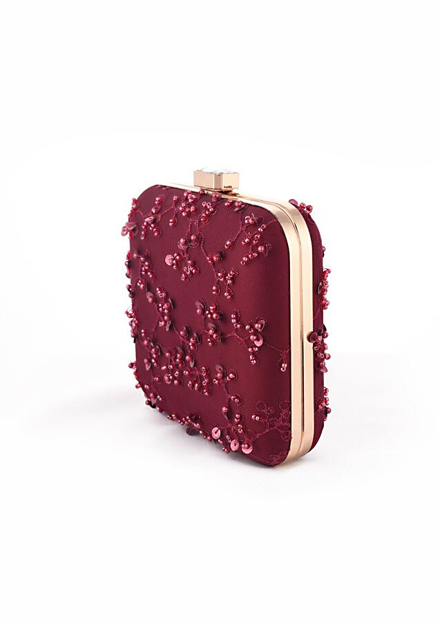 Burgundy Square Box Clutch With Embroidered Net Adorned In Beads, Sequins And Resham In Jaal Design Online - Kalki Fashion