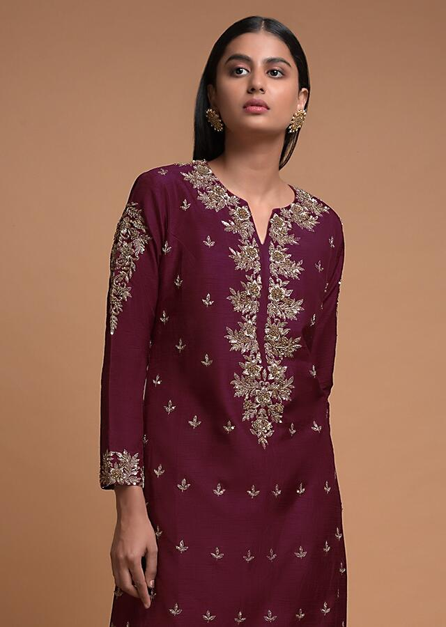 Burgundy Straight Cut Suit In Cotton Silk Embroidered Buttis And Floral Pattern Online - Kalki Fashion