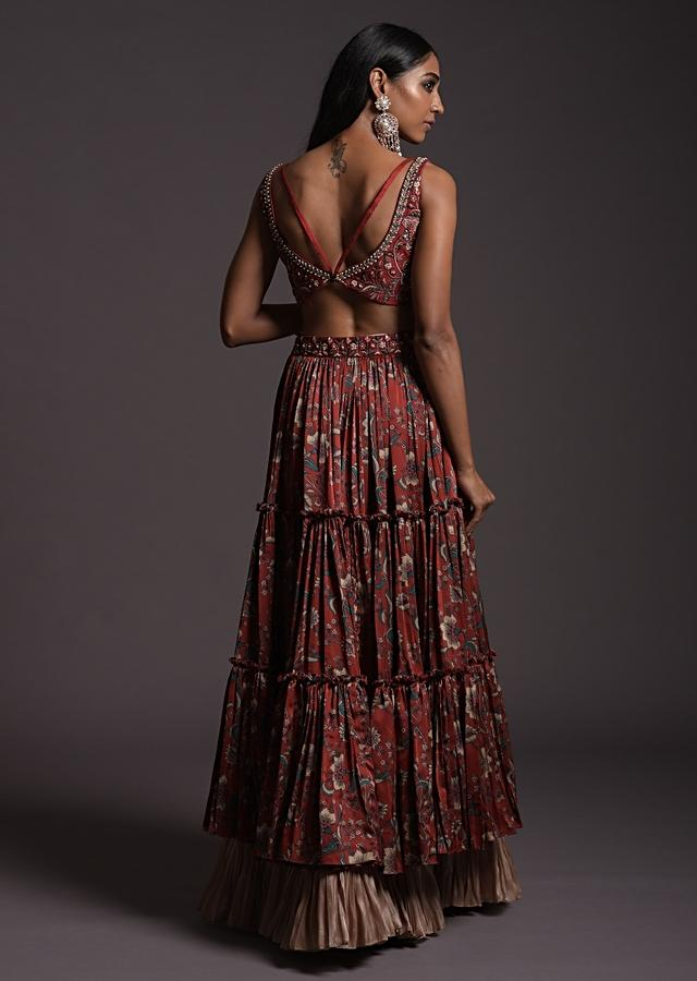 Burgundy Tiered Skirt With Floral Print And A Resham Embroidered Crop Top With Criss Cross Straps Online - Kalki Fashion
