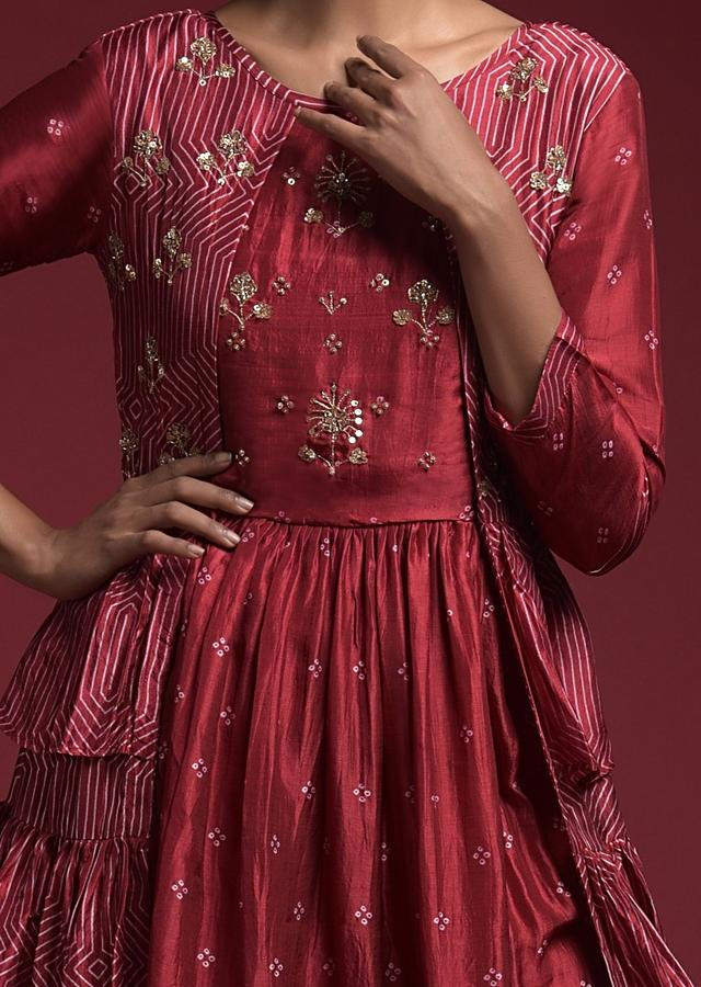 Burgundy Tunic In Silk With Attached Ruffle Jacket And Bandhani Print Online - Kalki Fashion