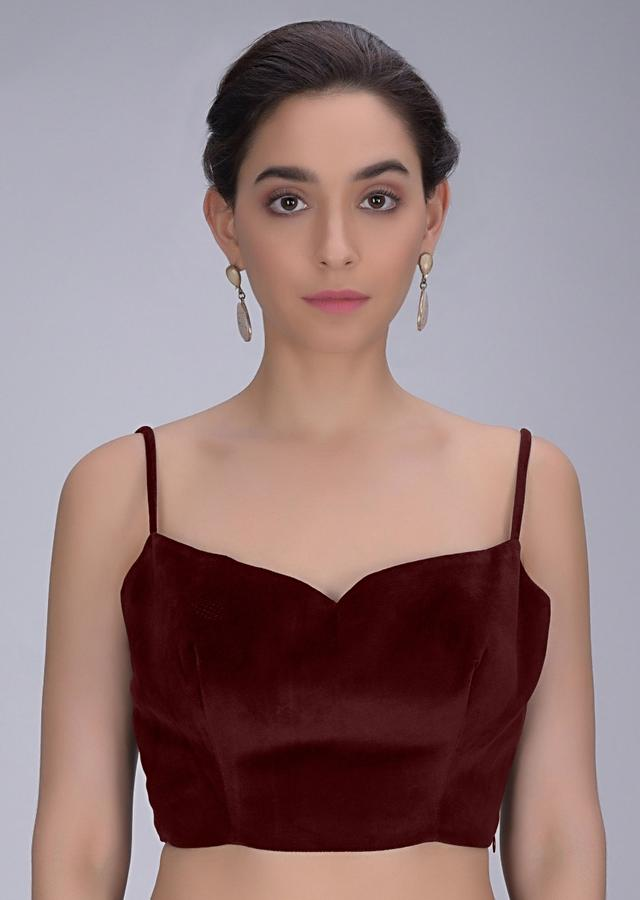 Burgundy Velvet Single Strap Blouse With Fancy Tie Up At The Back Online - Kalki Fashion