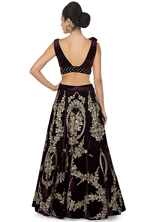 Burgundy Lehenga Choli In Mirabell Palace Structure Embroidered Motif Online - Kalki Fashion