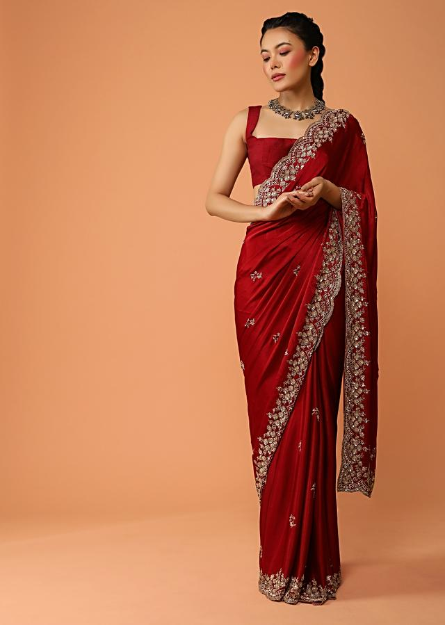 Burgundy Maroon Saree In Satin With Sequins And Zardosi Embroidered Floral Border And Butti Design Online - Kalki Fashion