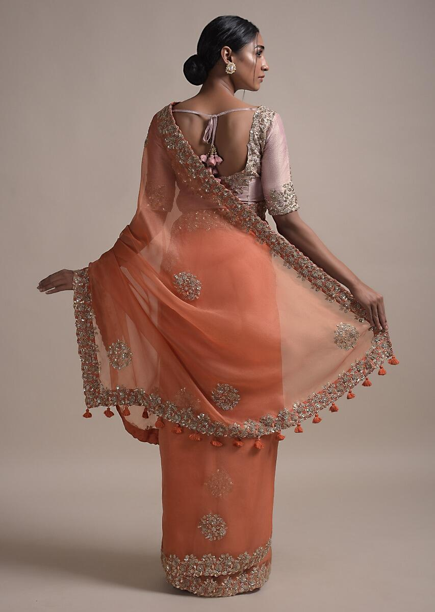 Buy Burnt Orange Saree In Organza Silk With Sequins And Zardozi Embroidery  In Floral Pattern Online - Kalki Fashion