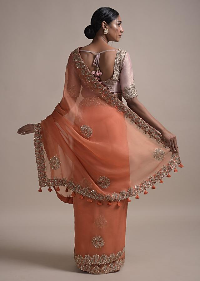 Burnt Orange Saree In Organza Silk With Sequins And Zardozi Embroidery In Floral Pattern Online - Kalki Fashion