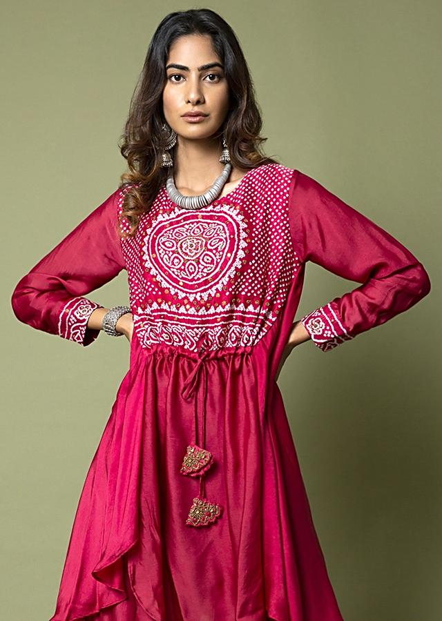 Burnt Pink Palazzo Suit With Sheer Panel And Adorned In Bandhani And Hand Embroidery Online - Kalki Fashion