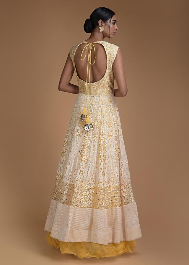 Butter Yellow Anarkali Gown In Net Thread And Sequins Work In Heritage Jaal Pattern Online - Kalki Fashion