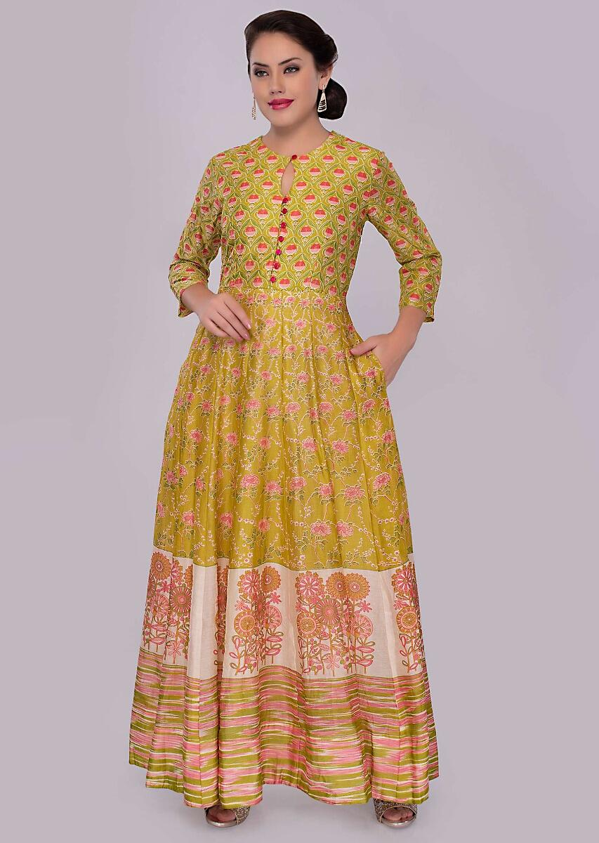 b1510685d320 Butter yellow cotton tunic dress with floral printed butti only on kalkiMore  Detail