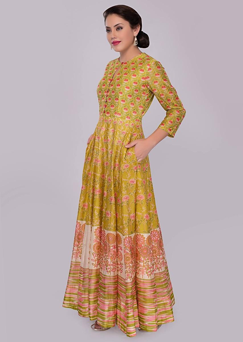 d34425a0934b Butter yellow cotton tunic dress with floral printed butti only on kalki