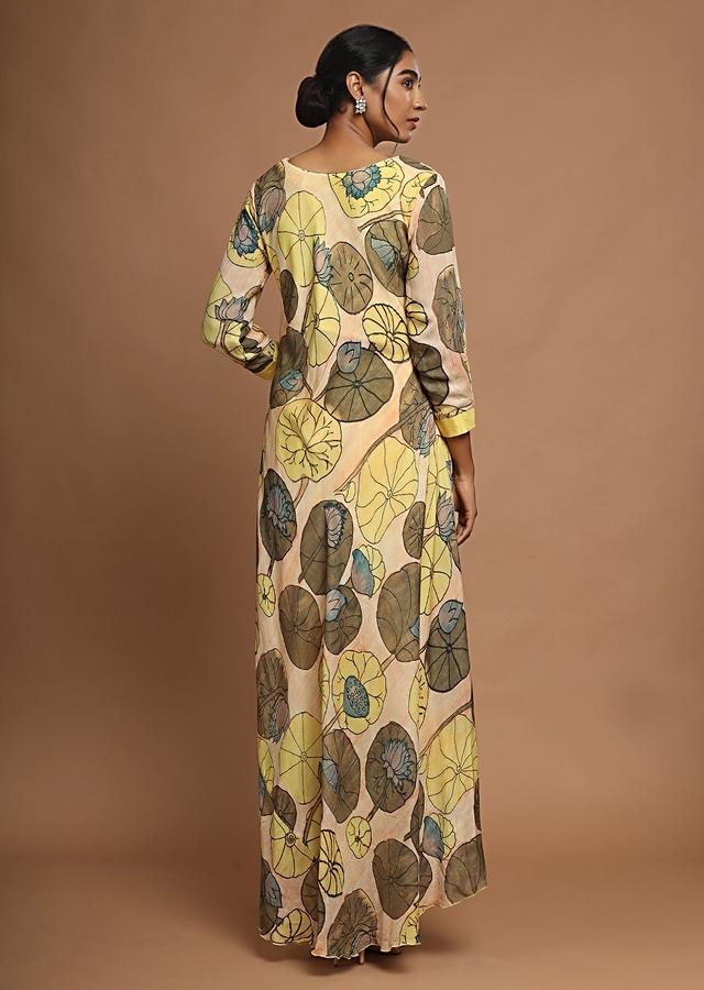 Butter Yellow Dhoti And High Low Kurti With Stylised Grey Floral Print Online - Kalki Fashion