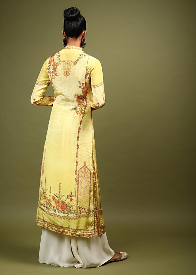 Butter Yellow Kurti In Crepe With Floral And Mughal Print And Kundan Accents Online - Kalki Fashion
