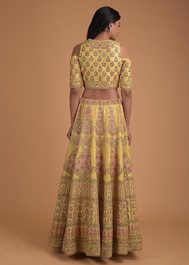 Butter Yellow Lehenga Choli With Floral Embroidery In Kali Pattern Online - Kalki Fashion