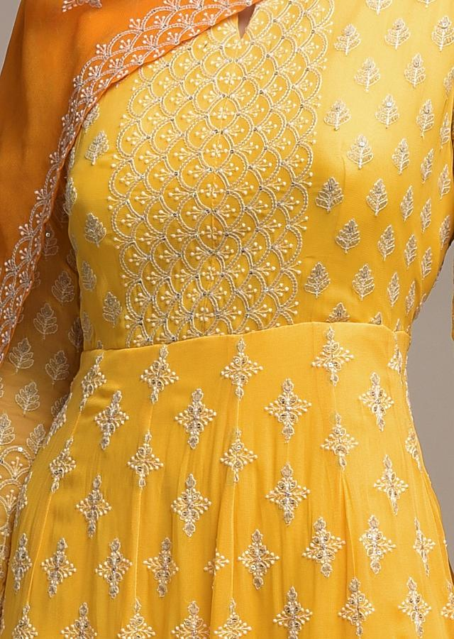 Butter Yellow Ombre Anarkali Suit In Georgette With Lucknowi Embroidery Online - Kalki Fashion
