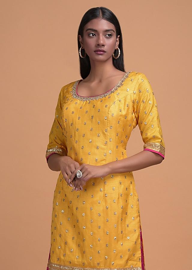 Butter Yellow Palazzo Suit In Cotton Silk With Zari And Sequins Embroidered Floral Buttis Online - Kalki Fashion