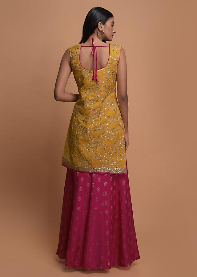 Butter Yellow Palazzo Suit In Cotton Silk With Zari And Sequins Embroidered Floral Jaal Online - Kalki Fashion