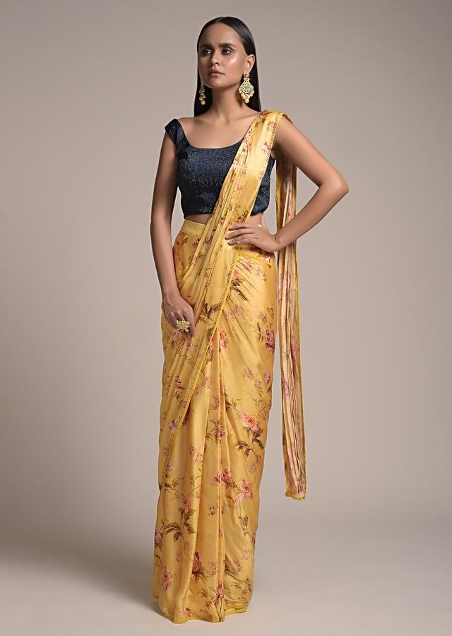 Butter Yellow Ready Pleated Saree In Satin With Floral Print And Contrasting Midnight Blue Embellished Blouse Online - Kalki Fashion