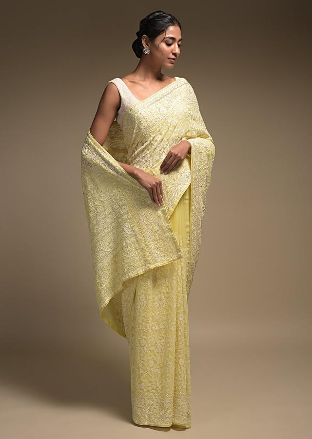 Butter Yellow Saree In Georgette Adorned With Lucknowi Thread Embroidery In Floral Jaal Online - Kalki Fashion