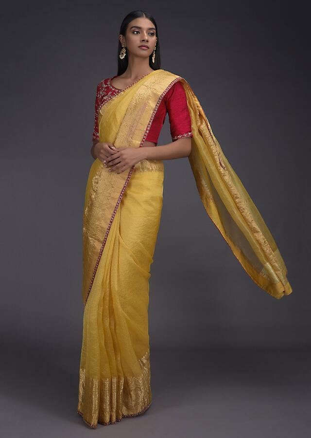 Butter Yellow Saree In Kota Silk With Weaved Floral Pattern On The Border Online - Kalki Fashion