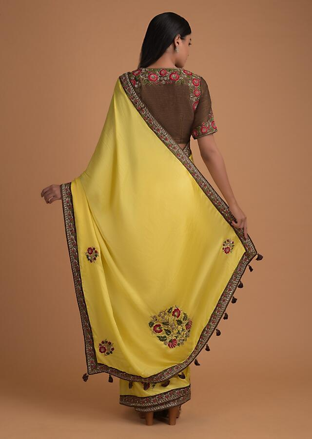 Butter Yellow Saree With Thread And Zardozi Embroidered Floral Motifs Online - Kalki Fashion