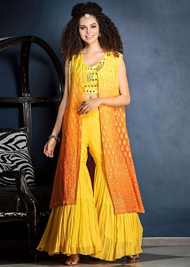 Butter Yellow Sharara Suit With Mirror Abla Work And Ombre Jacket With Lucknowi Work Online - Kalki Fashion