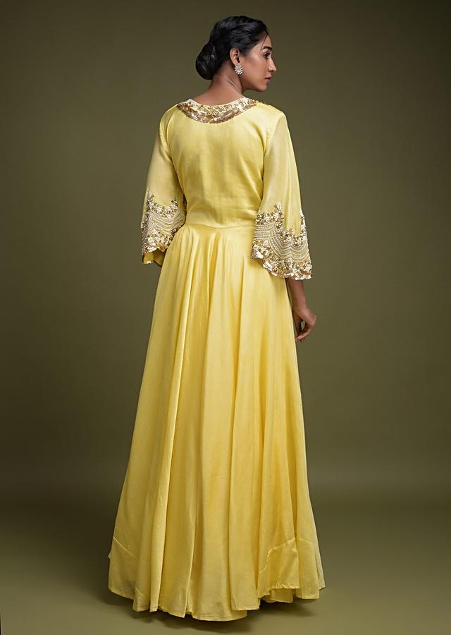 Butter Yellow Skirt In Cotton With Tiered Silhouette And Matching High Low Crop Top Online - Kalki Fashion