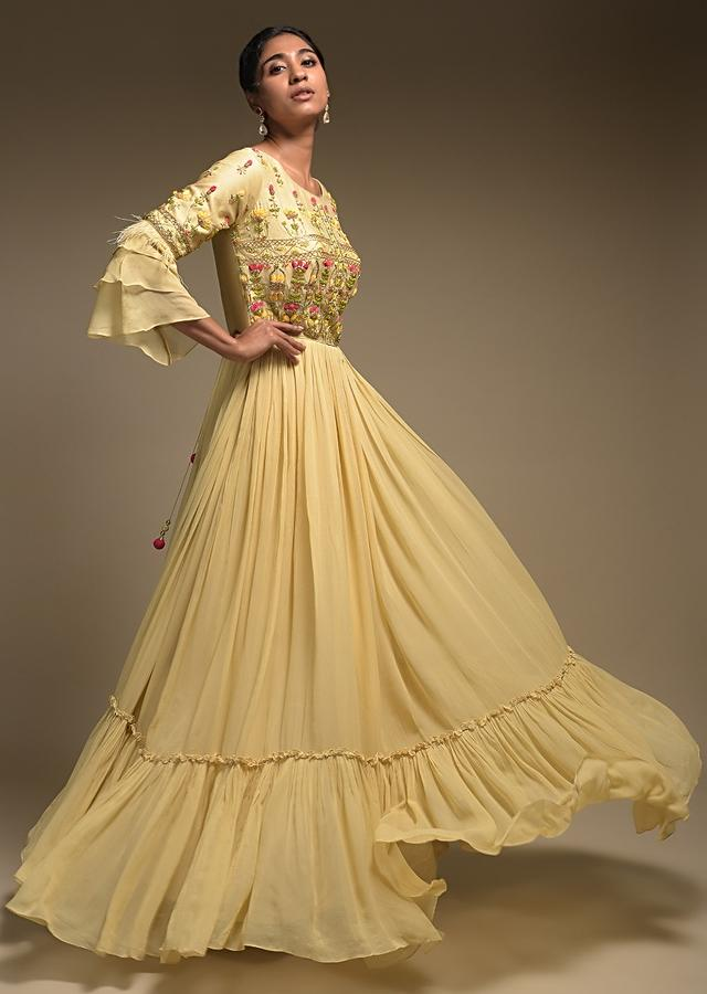 Buttermilk Beige Anarkali Suit In Georgette With Ruffle Frill On The Hem And Bell Sleeves Online - Kalki Fashion