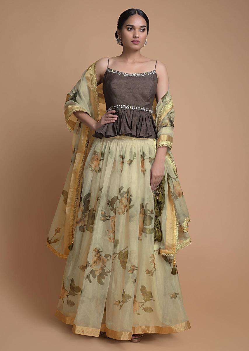 buttermilk beige lehenga in organza with floral print