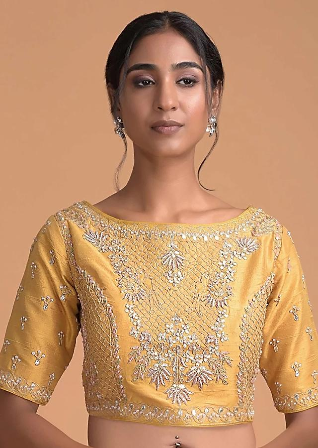 Butterscotch Yellow Blouse In Raw Silk With Zardosi And Thread Embroidered Floral Design Online - Kalki Fashion