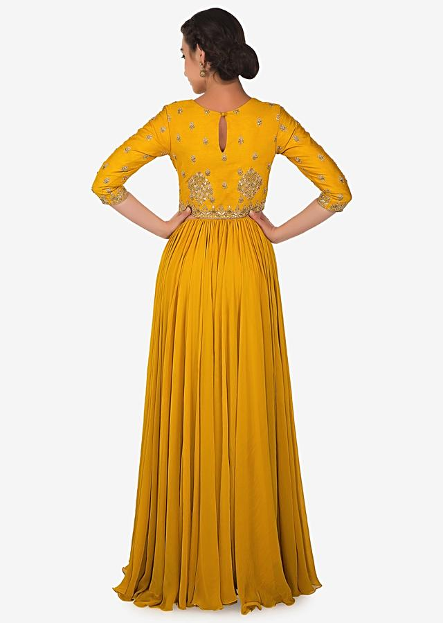 Butterscotch Yellow Gown In Raw Silk And Georgette Crafted With Handwork Online - Kalki Fashion