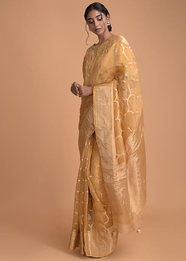 Butterscotch Yellow Saree In Organza Silk With Weaved Pattern And Gotta Work Online - Kalki Fashion