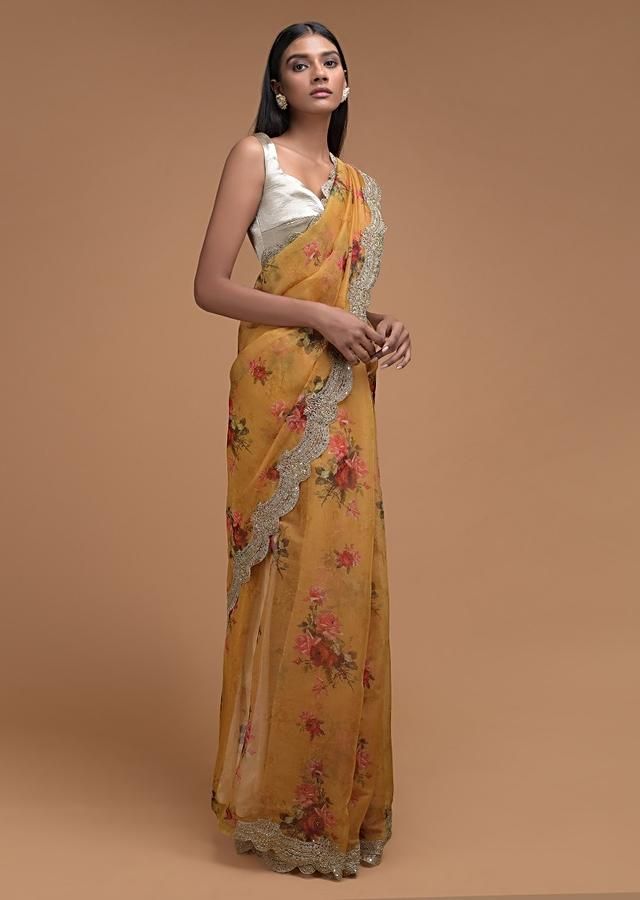 Butterscotch Yellow Saree In Organza With Floral Print And Embellished Scallop Cut Border Online - Kalki Fashion