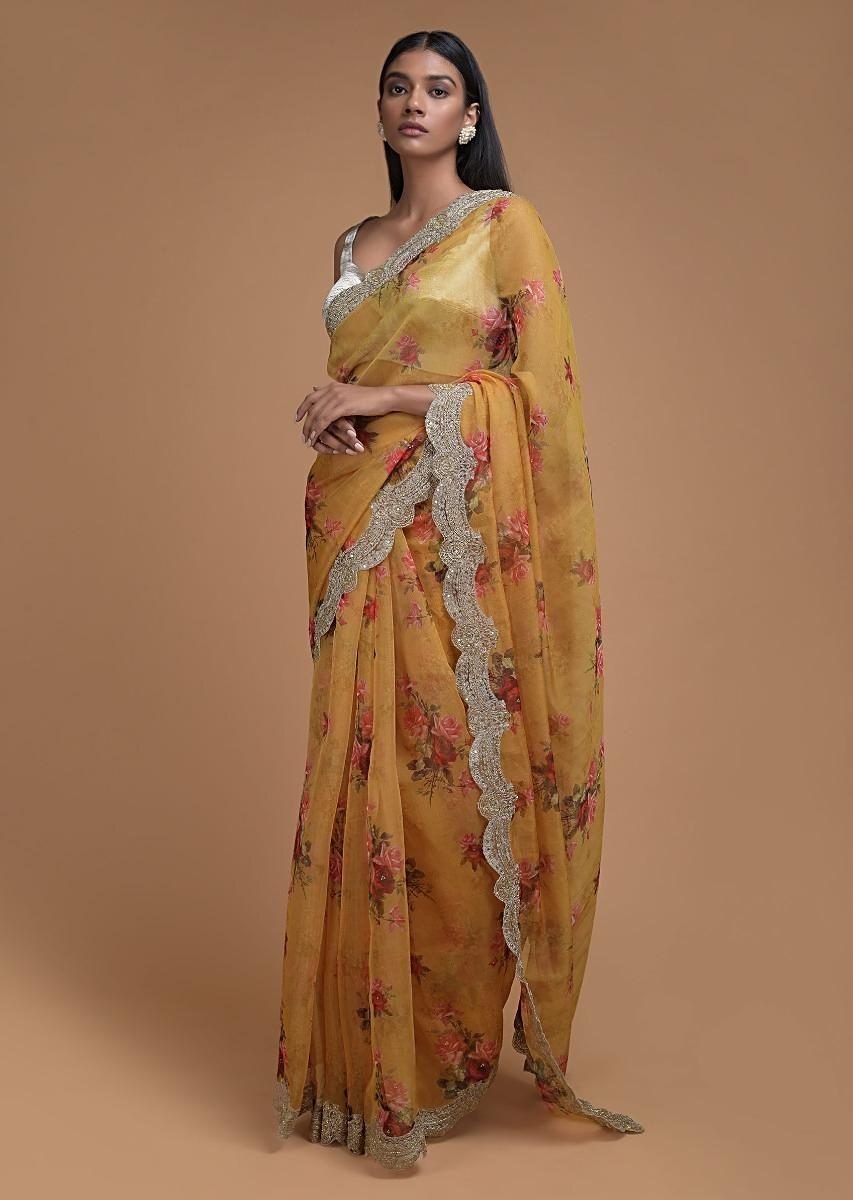 Butterscotch Yellow Saree In Organza With Floral Print