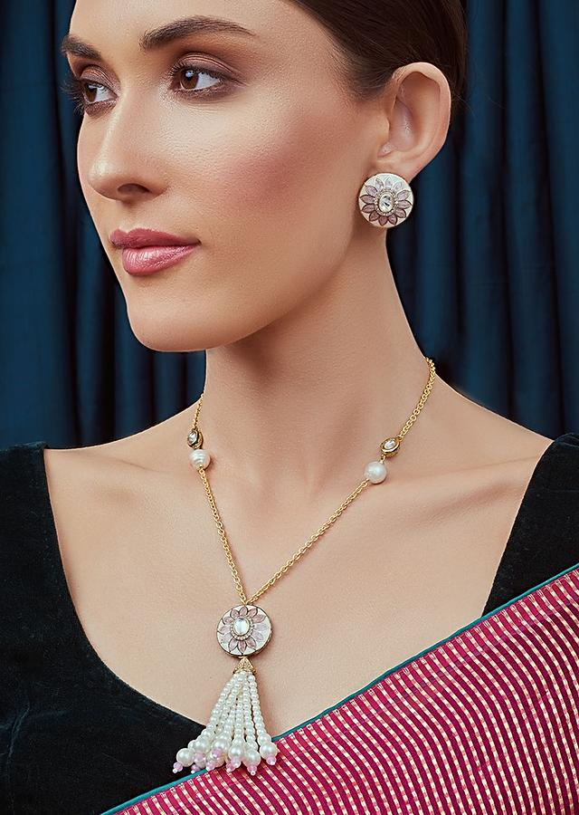 Pink And White Long Necklace Set With Round Kundan Pendant And Bedecked By Shell Pearl Tassel Joules By Radhika