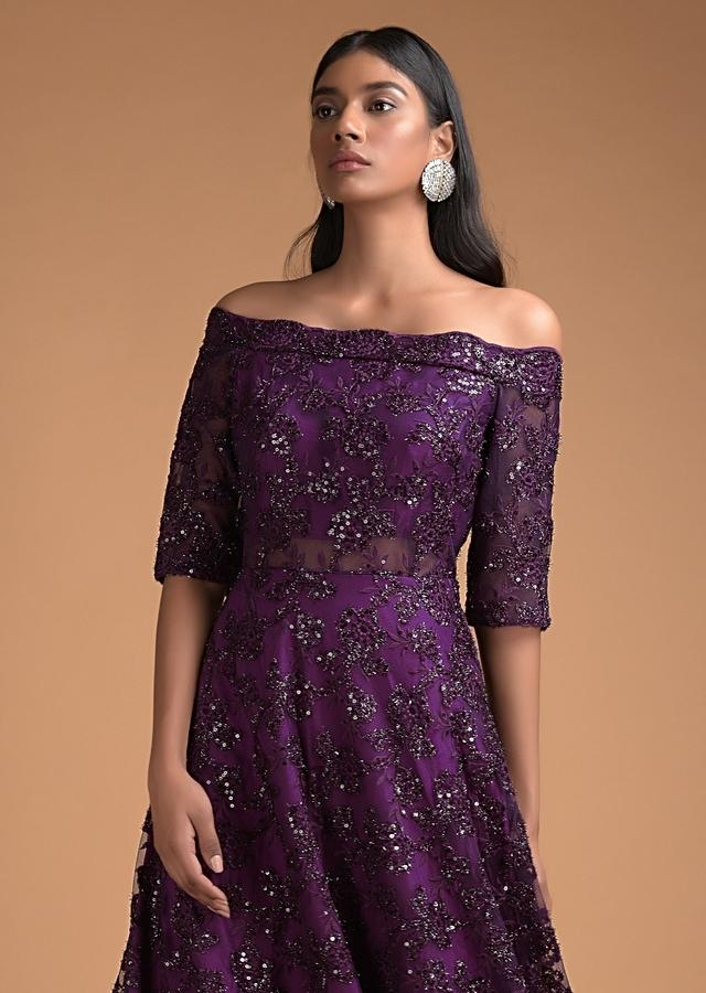 Byzantine Purple Off Shoulder Gown Adorned In Embossed Thread And Sequin Embroidery Online - Kalki Fashion