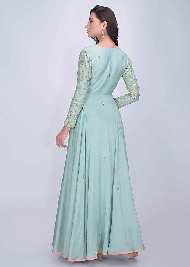 Cadet Blue Angrakha Style Suit In Raw Silk With Pink Net Dupatta Online - Kalki Fashion