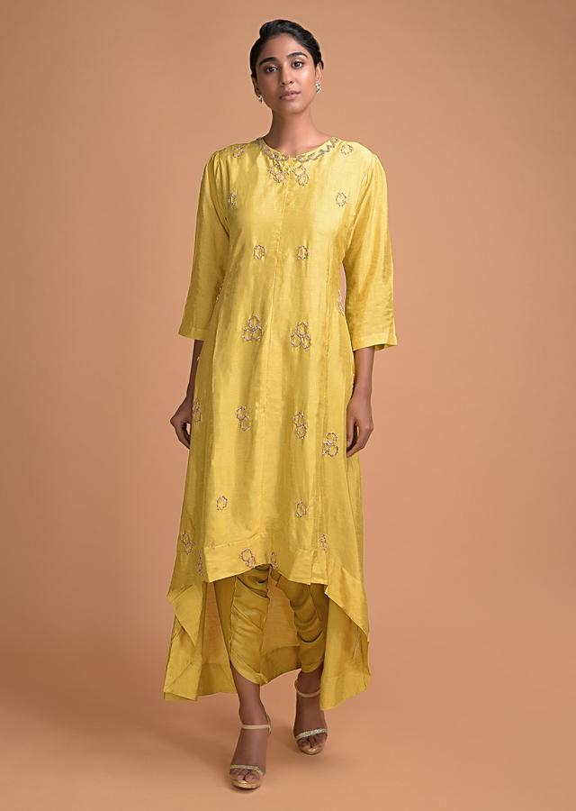 Canary Yellow Dhoti Suit With High Low Hemline And Embellished Geometric Buttis Online - Kalki Fashion