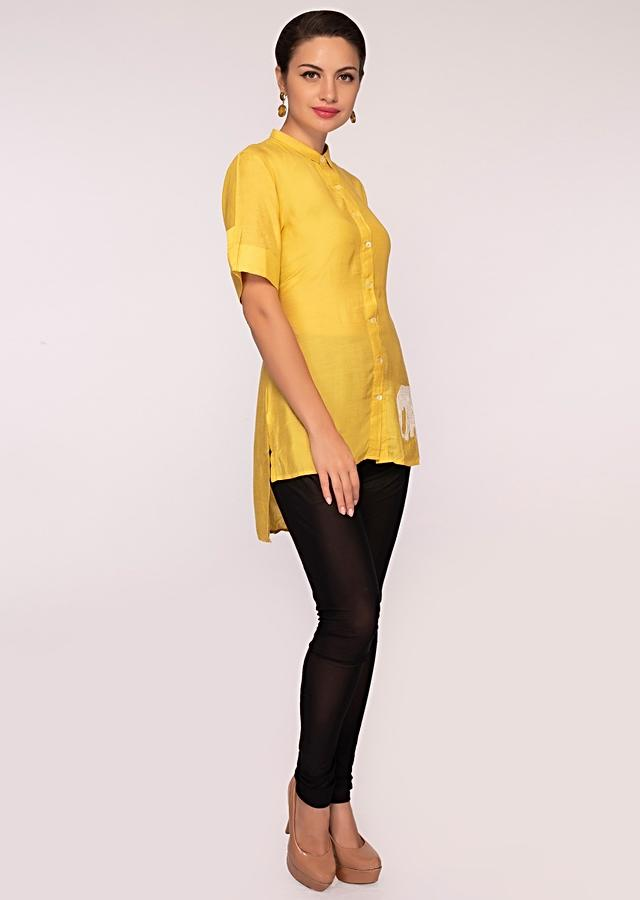 Canary Yellow Tunic With Front Short Back Long In Cotton Online - Kalki Fashion
