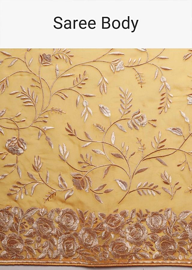Canary Yellow Saree In Georgette With Resham Embroidered Floral Jaal Online - Kalki Fashion