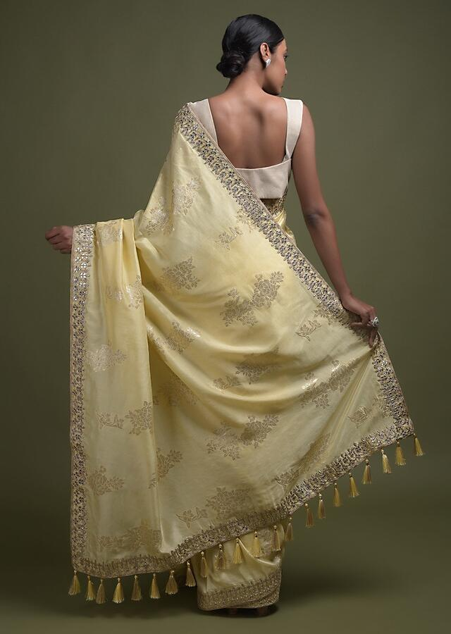 Canary Yellow Saree In Silk Blend With Weaved Floral Motifs In Repeat Pattern Online - Kalki Fashion