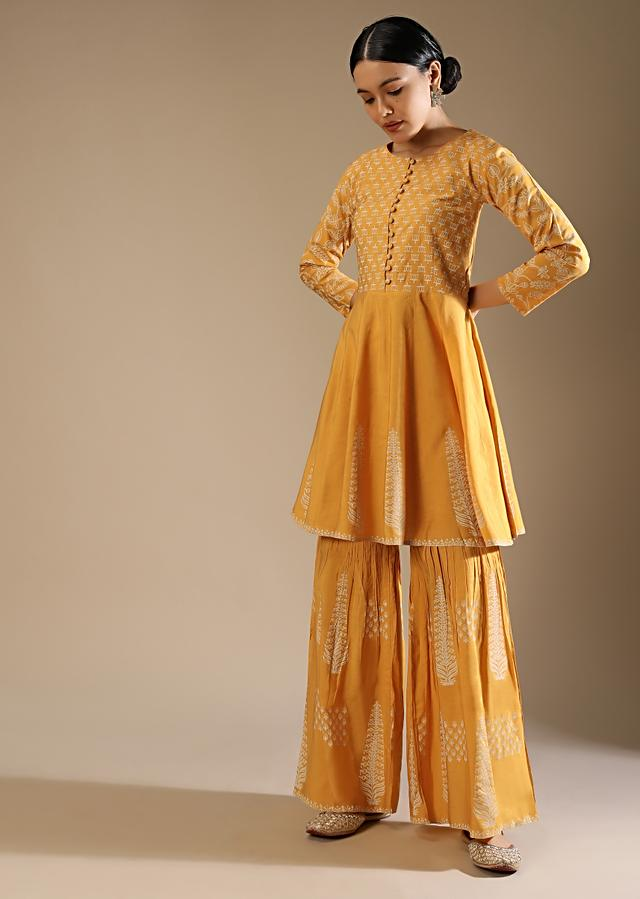 Canary Yellow Sharara And Peplum Kurta Set In Cotton With Printed Lotus And Floral Motifs Online - Kalki Fashion