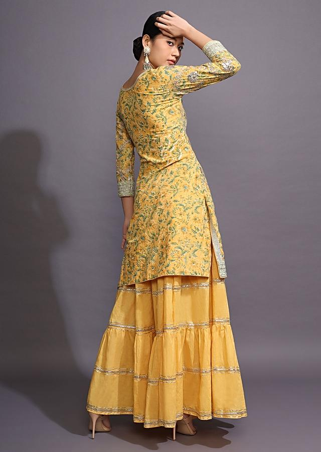 Canary Yellow Sharara Suit With Floral Print And Gotta Patti Work All Over Online - Kalki Fashion